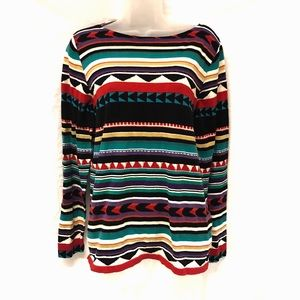 Chaps Top Long Sleeve Knit Tribal Multi Color XL